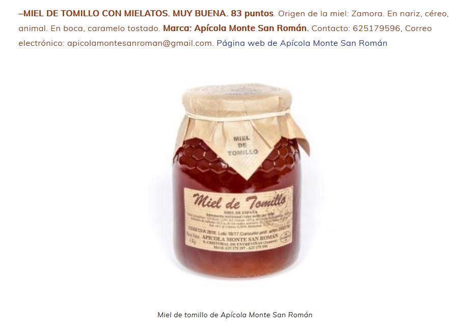 miel de tomillo apícola monte san román calidad muy buena mieladictos