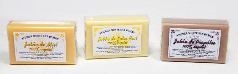 jabón en pastilla de miel, jalea real y propóleo