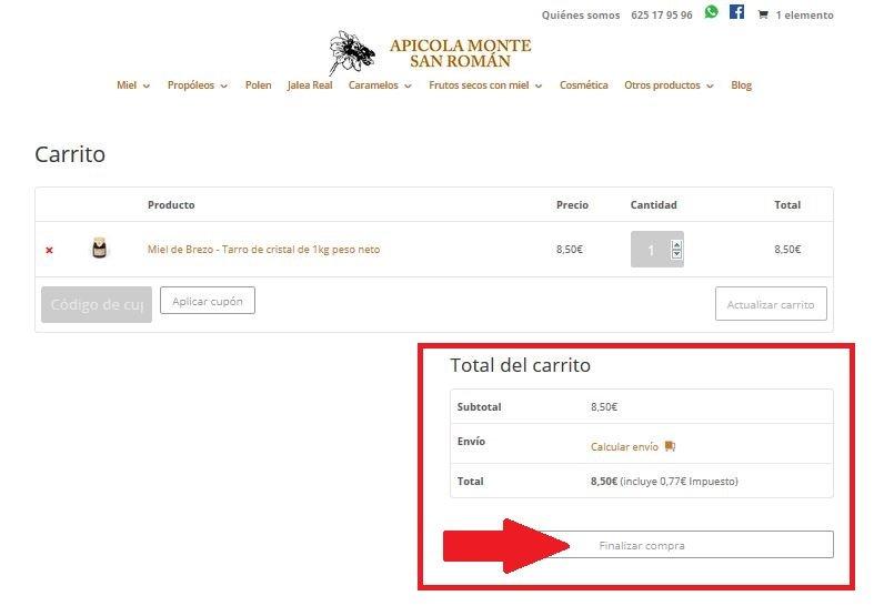 Compra online de miel en Apícola Monte San Román