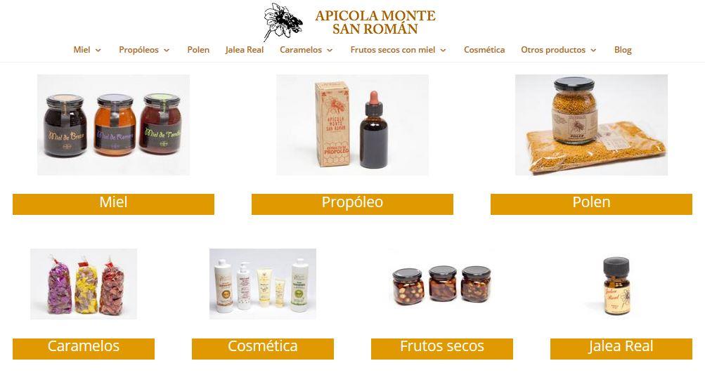 Tienda online miel Apícola Monte San Román