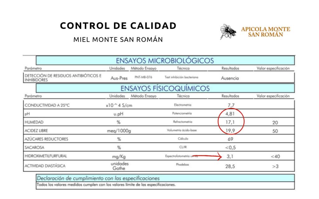 control de calidad miel apicola monte san román