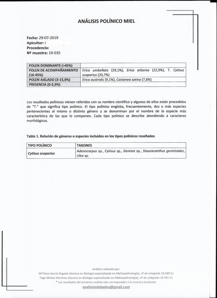 Miel de Brezo - Sierra de la Culebra en Zamora - Análisis Polínico